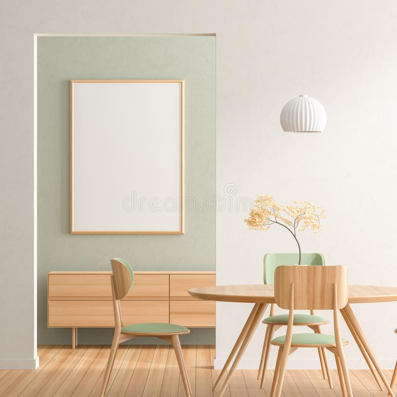 Free Mock Up Poster Frame In Scandinavian Style Dining Room With Wooden Chairs And Table.  Minimalist Dining Room Design. 3D Stock Image - 154566331