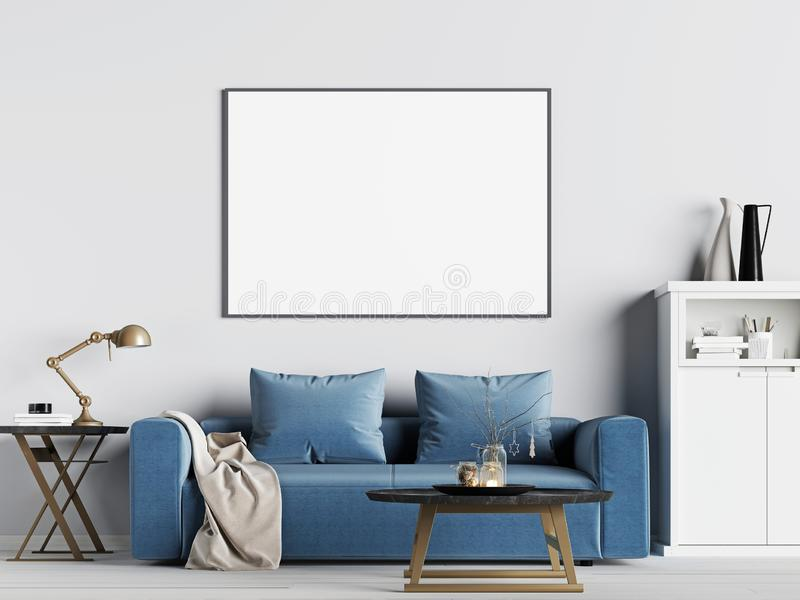 Mock up poster frame in interior background with blue sofa, Scandinavian style royalty free illustration