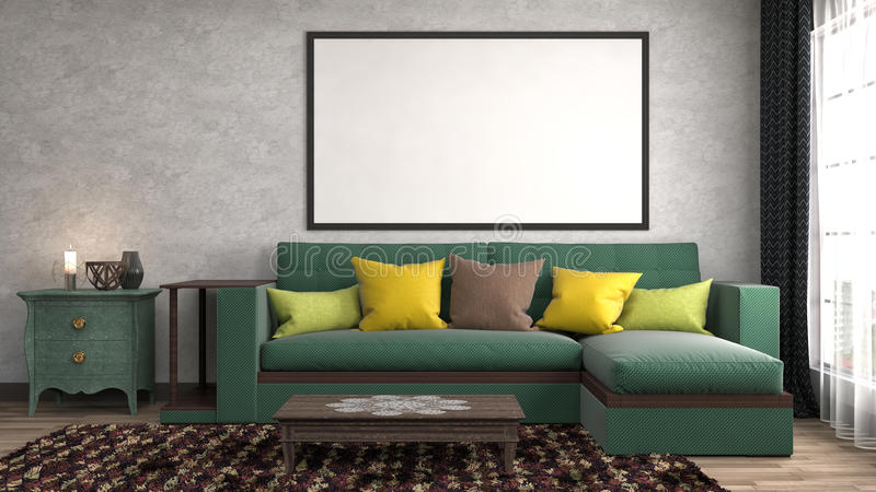 Mock up poster frame in interior background. 3D Illustration royalty free illustration