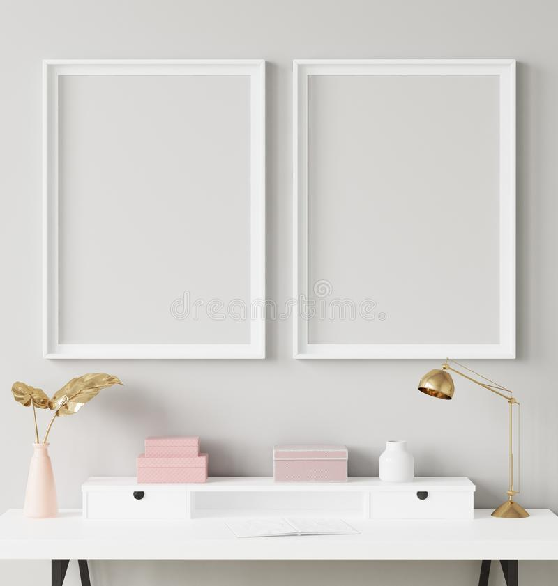 Mock up poster frame in interior background with decor on shelf stock photo