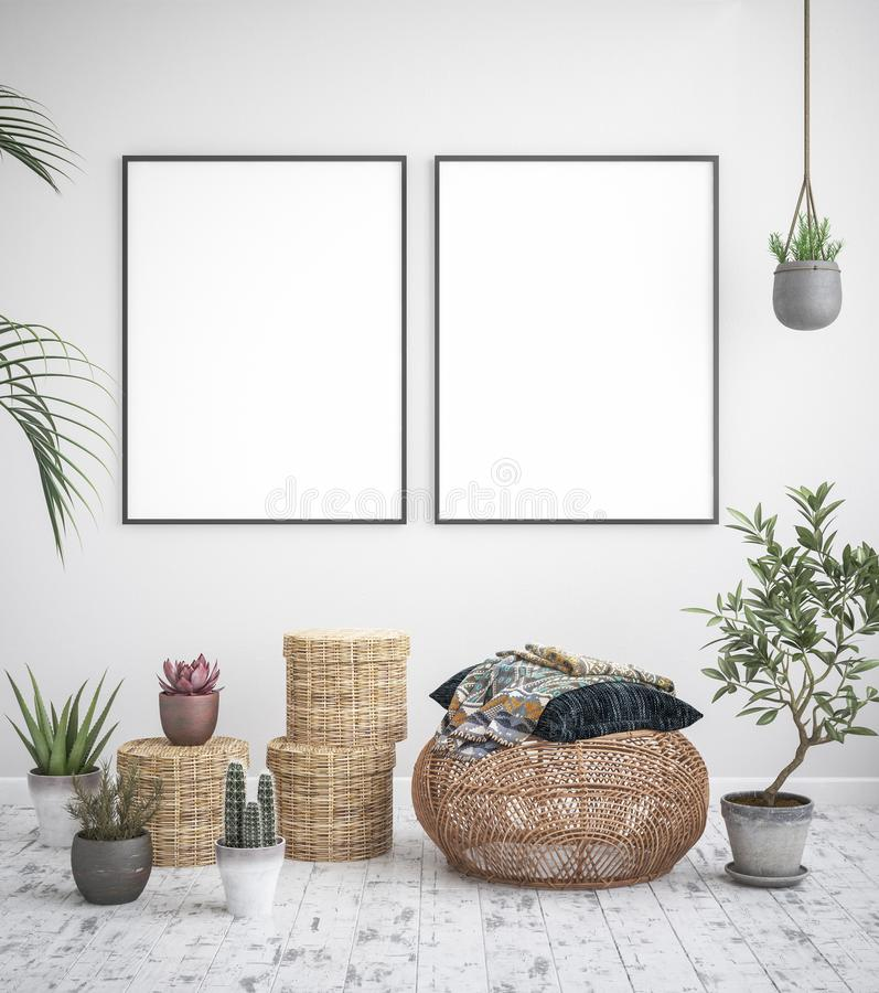Mock up poster frame interior background, scandinavian style. 3D render royalty free stock image