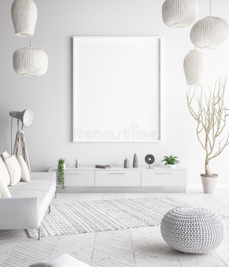 Mock up poster frame in interior background, scandinavian style. 3D render royalty free stock image