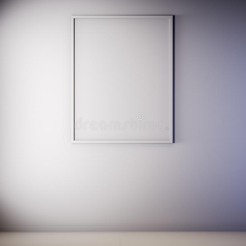 Mock up poster frame in Interior, gray color, Clay render, 3D illustration royalty free illustration