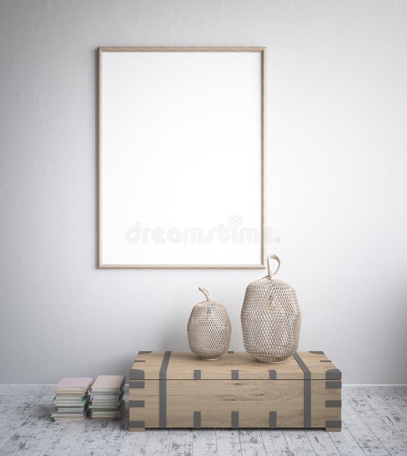 Mock up poster frame, interior minimalism, Scandinavian design royalty free illustration