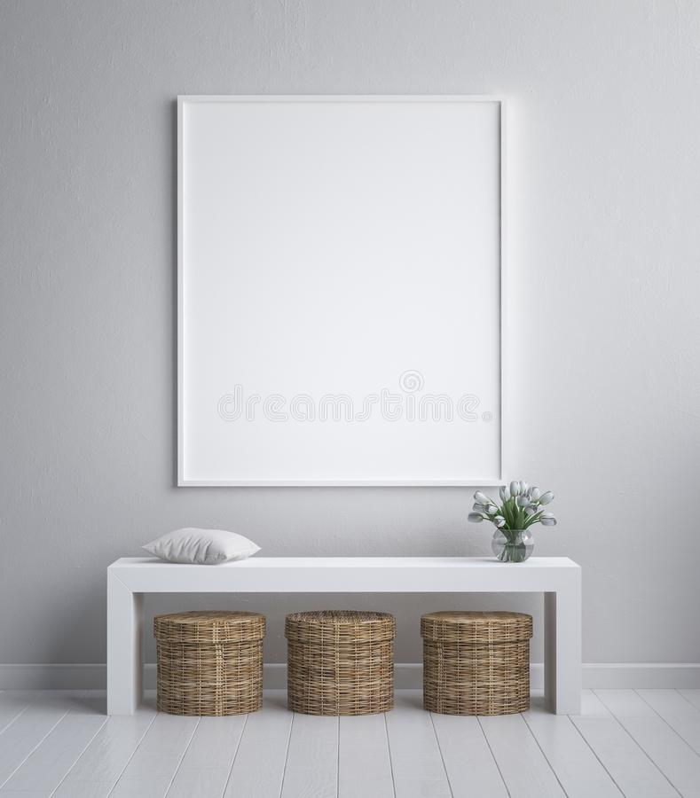 Mock up poster frame, interior minimalism, Scandinavian design vector illustration