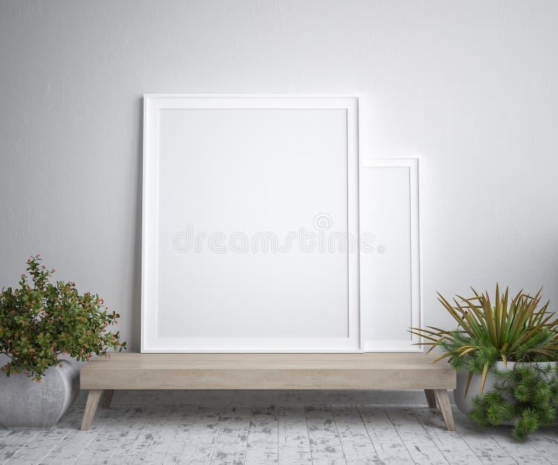 Mock up poster frame, interior minimalism,Scandinavian design vector illustration