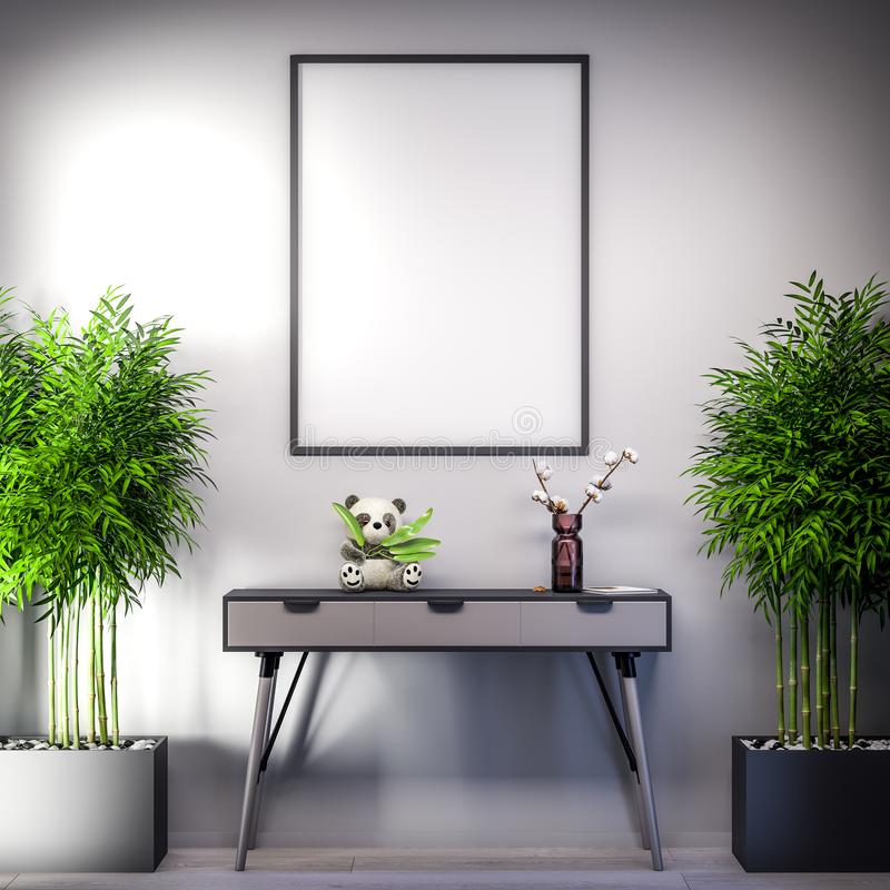 Mock up poster frame in Interior, modern style with bamboo plants, 3D illustration royalty free stock photography