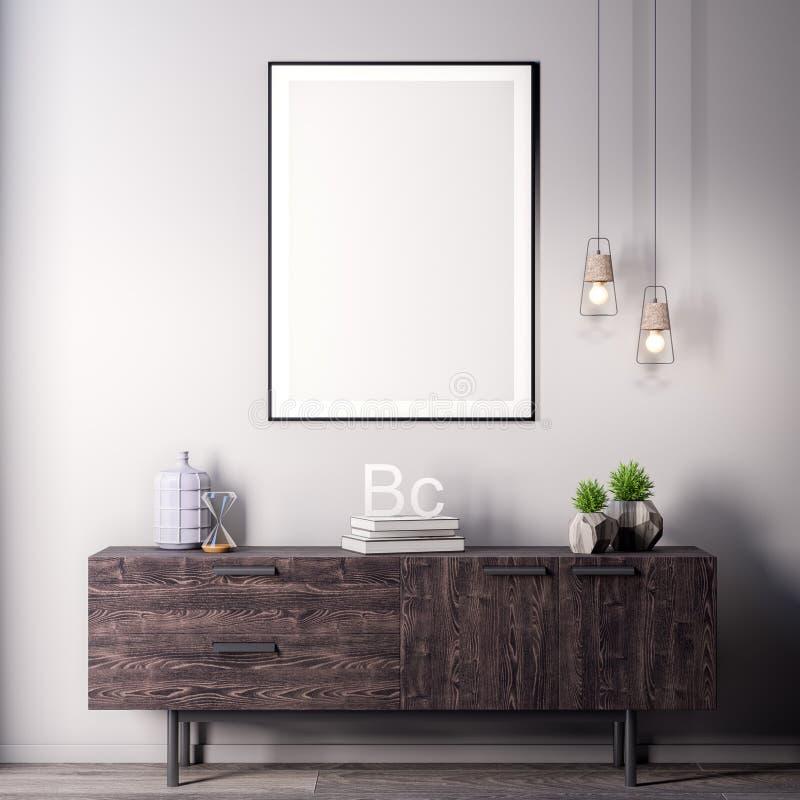 Mock up poster frame in Interior, modern style, 3D illustration stock images