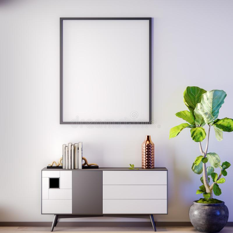 Mock up poster frame in Interior, modern style, 3D illustration vector illustration