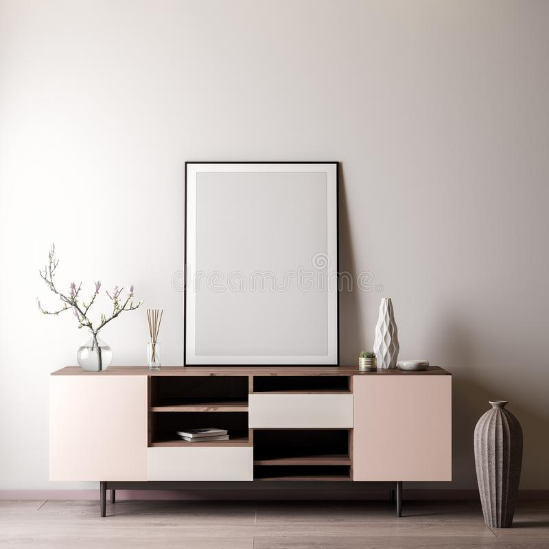 Mock up poster frame in Interior room with white wal, modern style, 3D illustration.  stock image