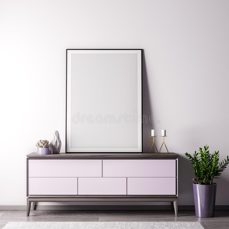 Mock up poster frame in Interior room with white wal, modern style, 3D illustration stock images