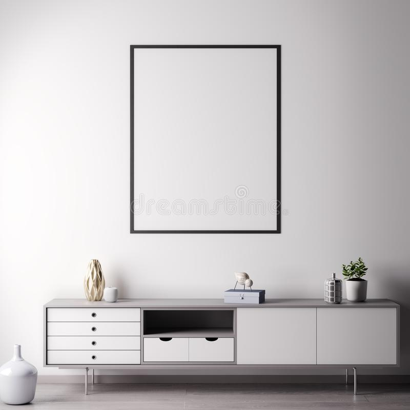 Mock up poster frame in Interior room with white wal, modern style, 3D illustration vector illustration