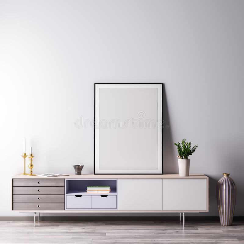 Mock up poster frame in Interior room with white wal, modern style, 3D illustration royalty free illustration