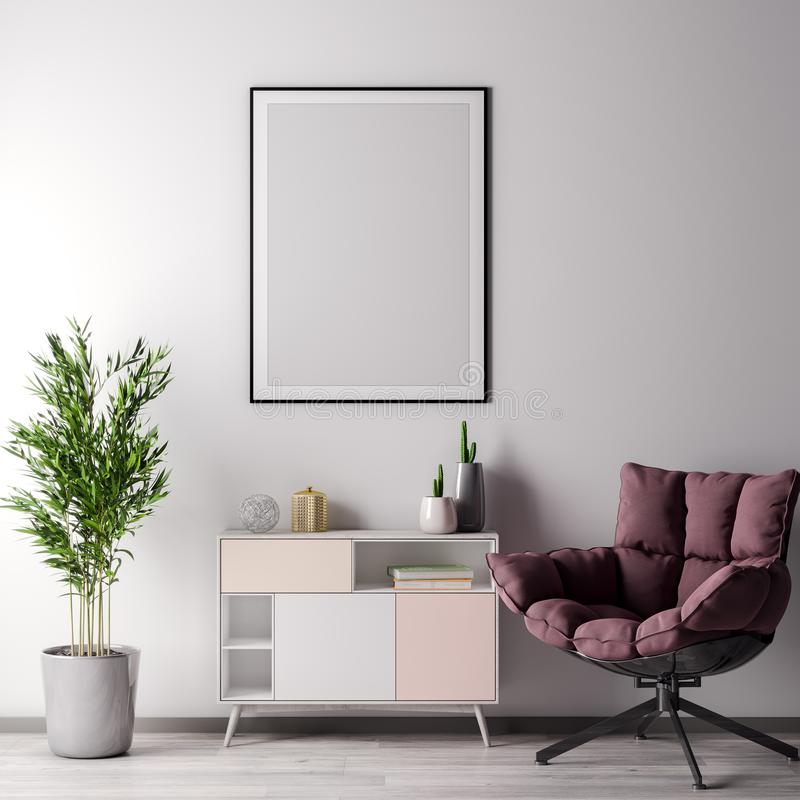 Mock up poster frame in Interior room with white wal, modern style, 3D illustration royalty free stock photography
