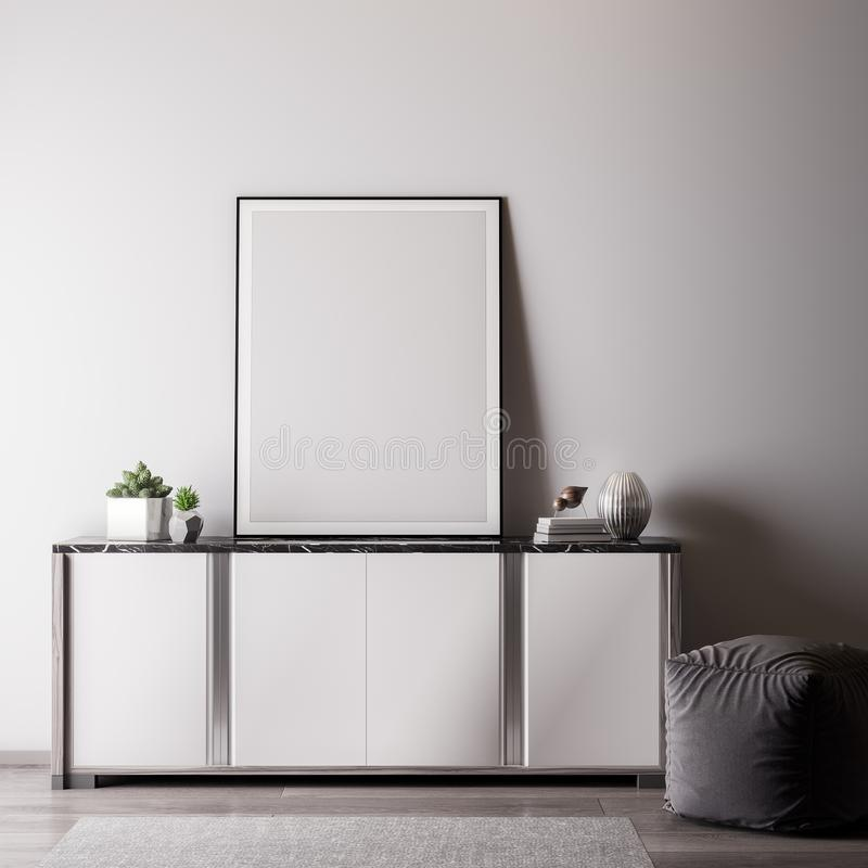 Mock up poster frame in Interior room with white wal, modern style, 3D illustration stock image