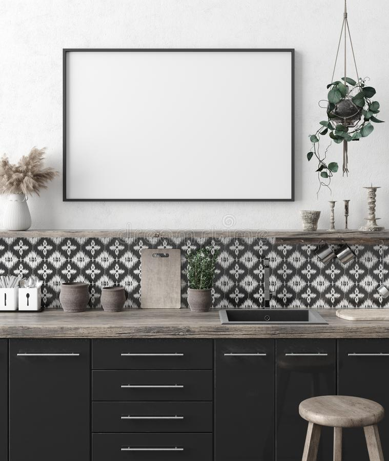 Mock up poster frame in kitchen interior background, Ethnic style. 3d render royalty free stock photography