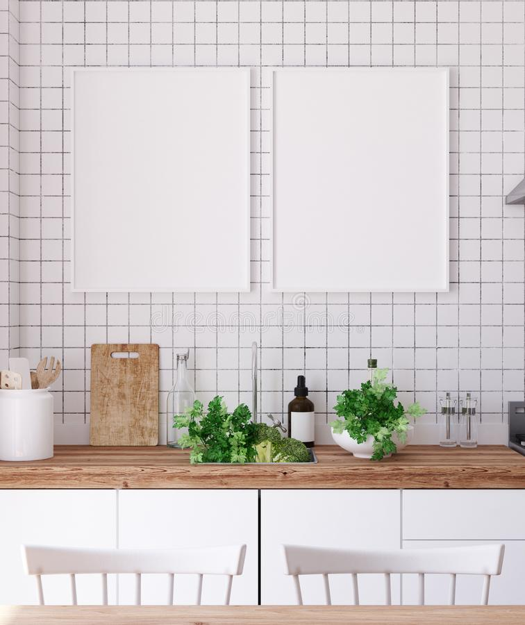 Mock up poster frame in kitchen interior, Scandinavian style vector illustration