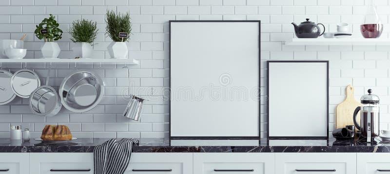 Mock up poster frame in kitchen interior, Scandinavian style, panoramic background. 3d render stock illustration