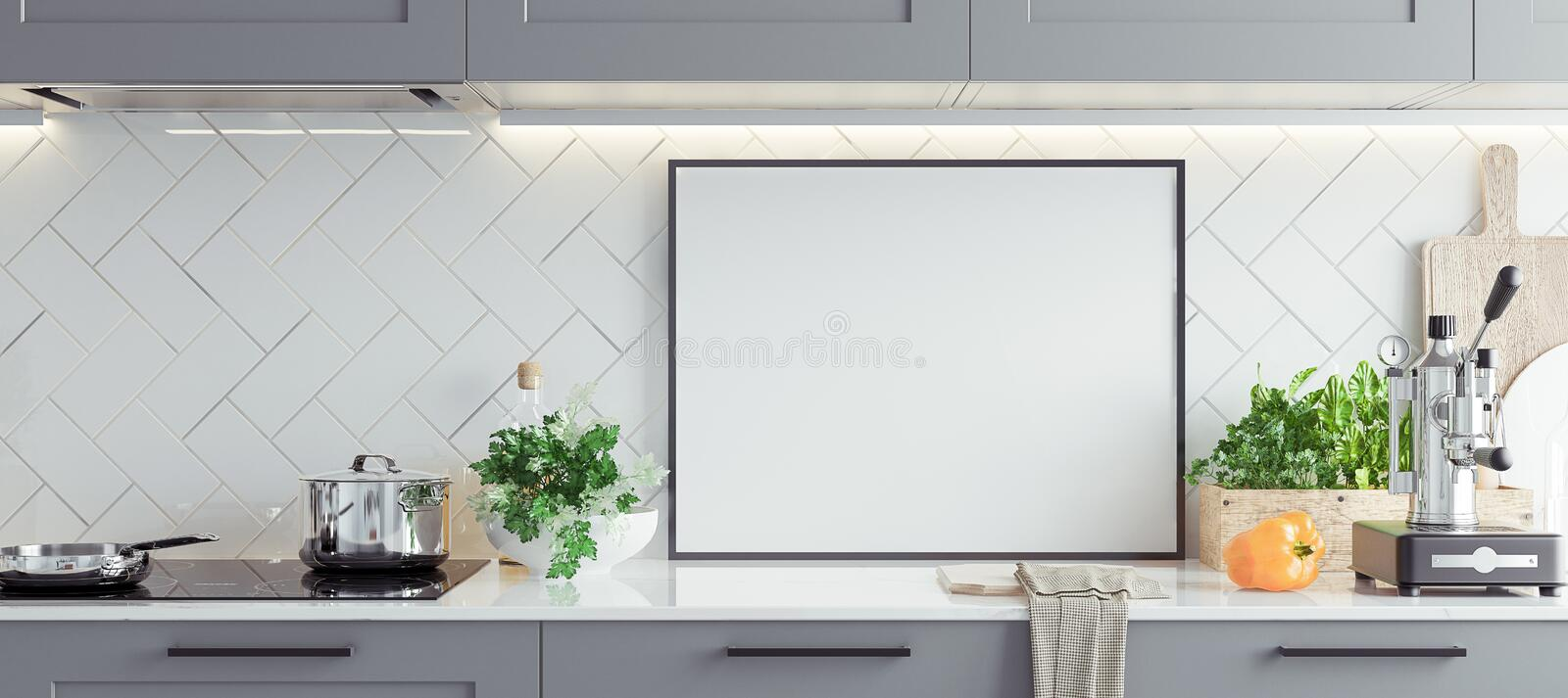 Mock up poster frame in kitchen interior, Scandinavian style, panoramic background royalty free stock images