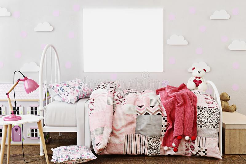 Mock up poster frame in little girl`s room with doll house and teddy bear`s. vector illustration
