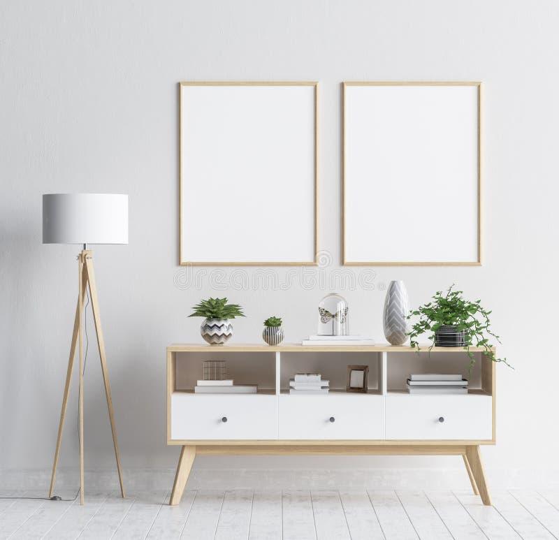 Mock up poster frame in living room background, Scandinavian style interior. 3D render vector illustration