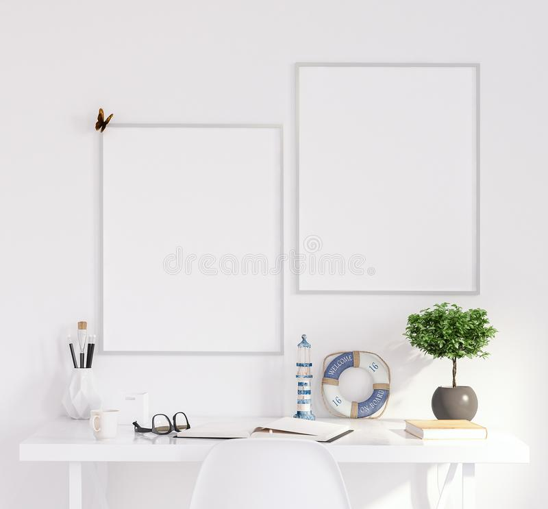 Mock up poster frame in living room, working area, Scandinavian style. 3d render royalty free stock photography