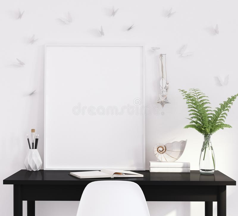 Mock up poster frame in living room, working area, Scandinavian style stock photos