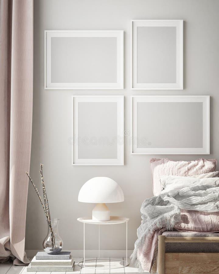 Mock up poster frame in modern bedroom interior background, living room, Scandinavian style, 3D render, 3D illustration. Mock up poster frame in modern bedroom vector illustration
