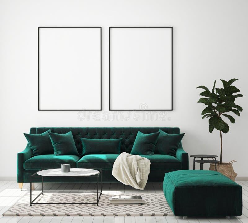 Mock up poster frame in modern interior background, living room, Scandinavian style, 3D render, 3D illustration. Mock up poster frame in modern interior vector illustration