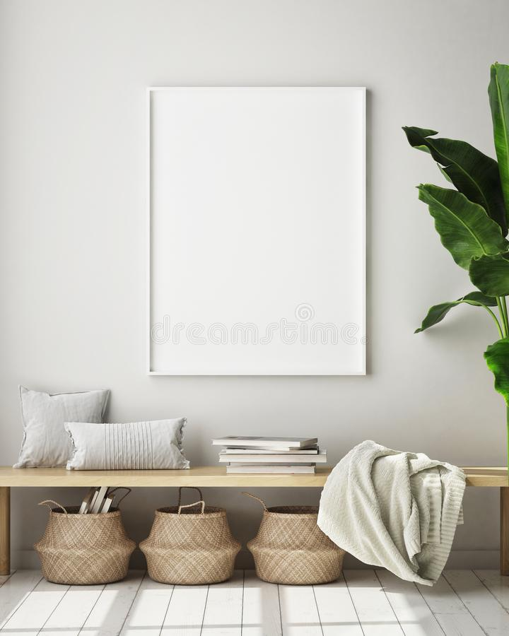 Mock up poster frame in modern interior background, living room, Scandinavian style, 3D render, 3D illustration. Mock up poster frame in modern interior royalty free illustration