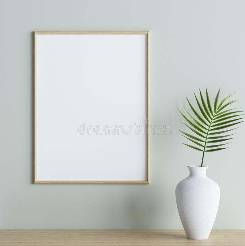 Mock up poster frame with plant in vase on shelf in interior background. 3d render vector illustration