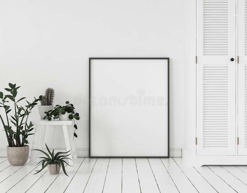 Mock-up poster frame with plants and cupboard standing near wall, Scandinavian style stock photo