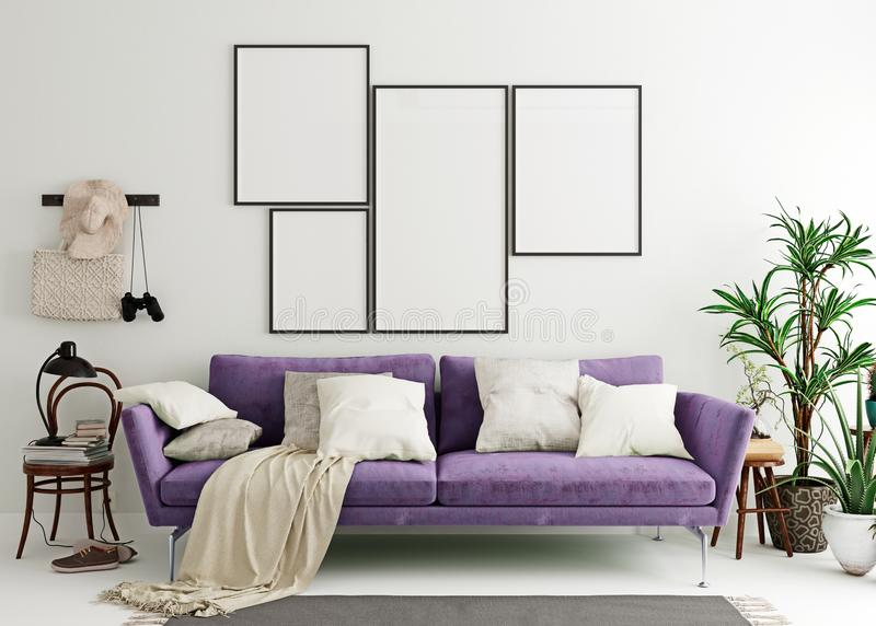 Mock up poster frame in purple indigo modern interior background, living room, Scandinavian style vector illustration