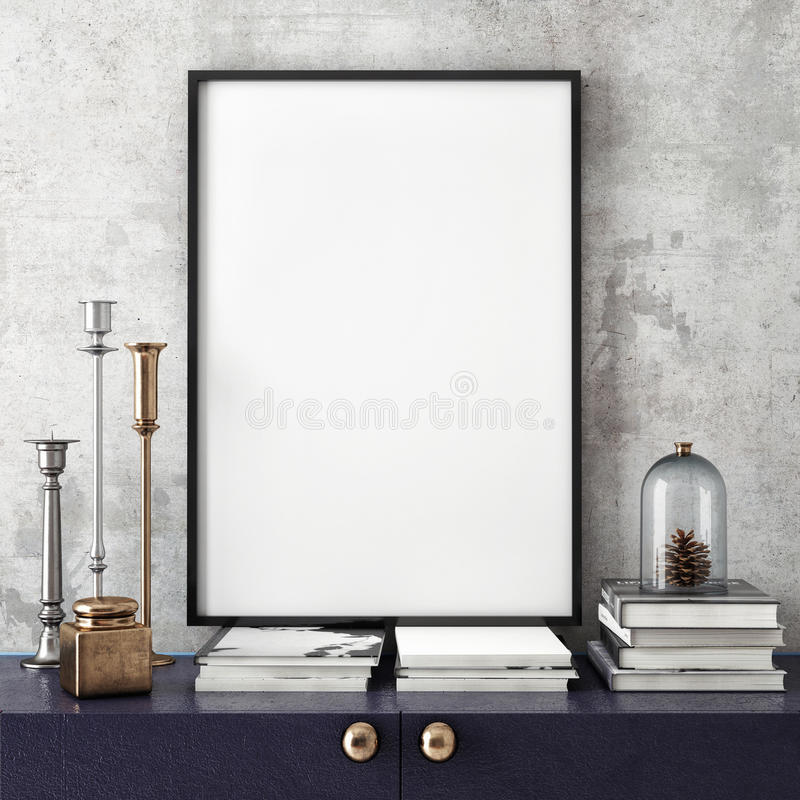 Mock up poster frame with on retro chest of drawers, hipster interior background, vector illustration