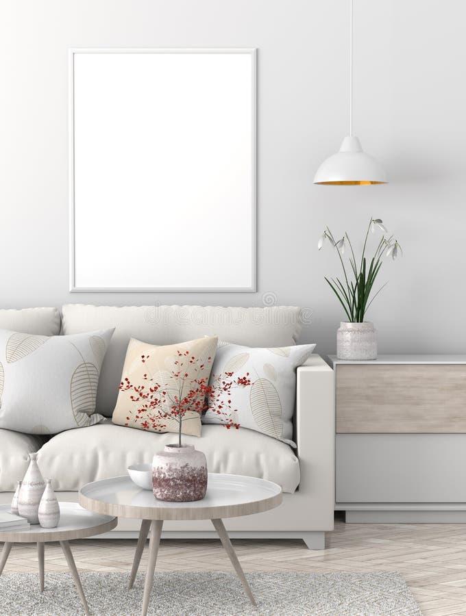 Mock up poster frame in Scandinavian style hipster interior. 3D illustration stock illustration