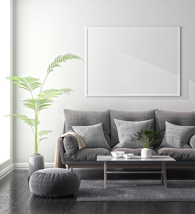 Mock up poster frame in Scandinavian style hipster interior. 3D illustration.  royalty free stock images