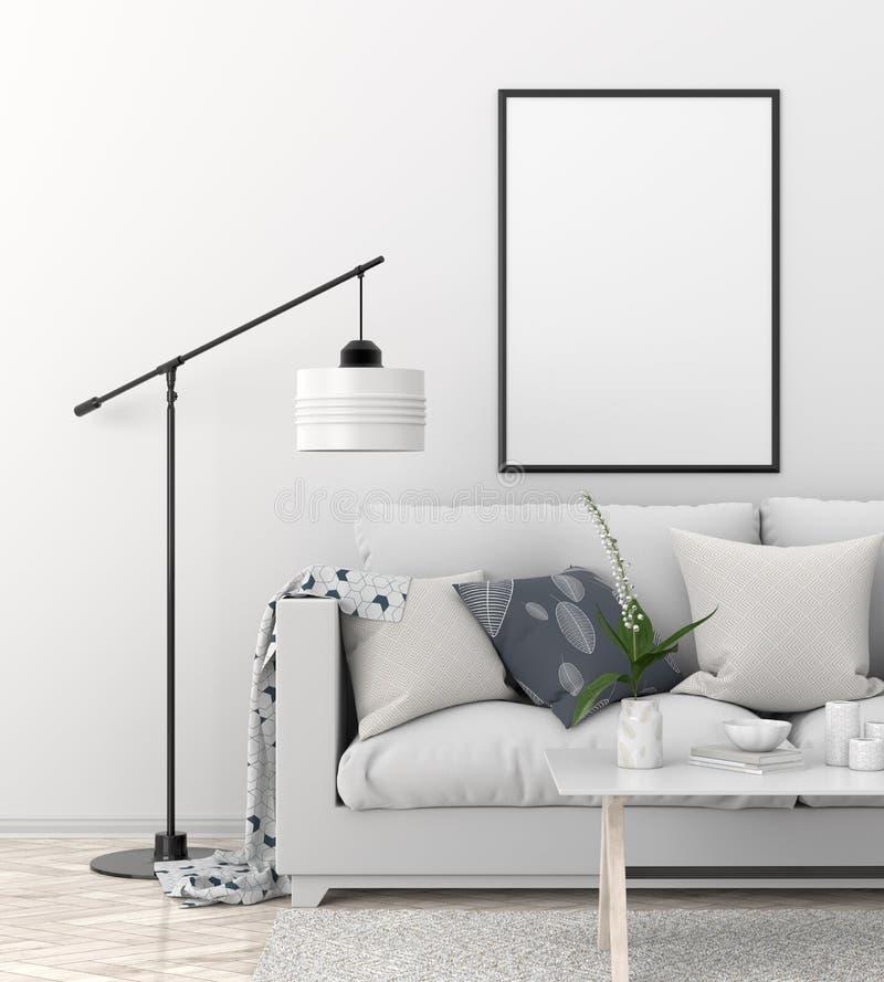Mock up poster frame in Scandinavian style hipster interior. 3D. Illustration royalty free illustration