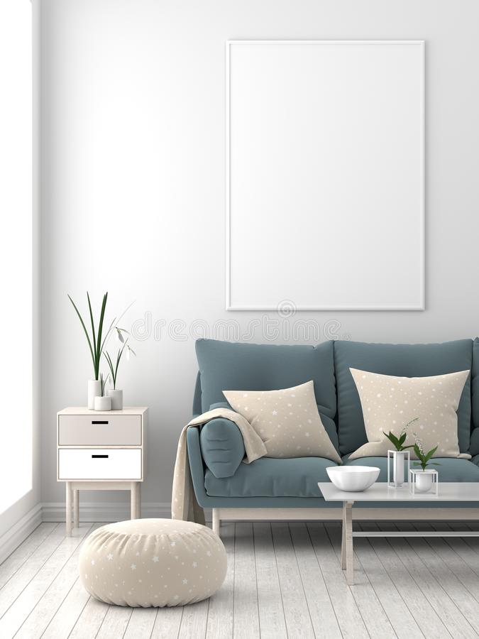 Mock up poster frame in Scandinavian style hipster interior. 3D vector illustration