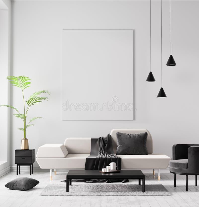 Mock up poster frame in Scandinavian style hipster interior. Minimalist modern interior design. 3D illustration vector illustration