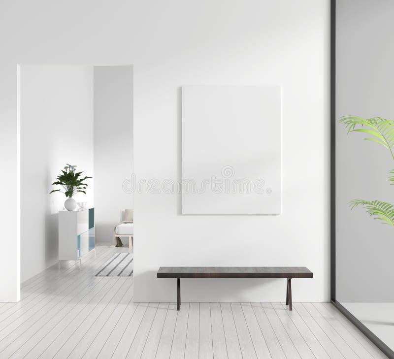 Mock up poster frame in Scandinavian style hipster interior. White modern interior of modern living room. 3D illustration royalty free illustration