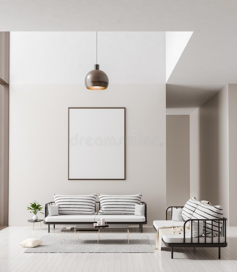 Mock up poster frame in scandinavian style interior. Minimalist modern interior design. 3D illustration.  stock photography