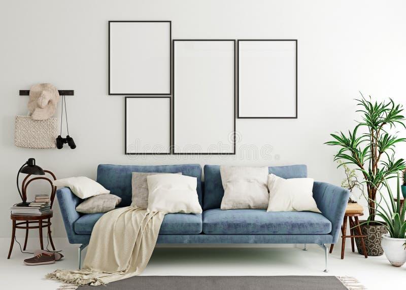 Mock up poster frame in steel blue modern interior background, living room, Scandinavian style vector illustration