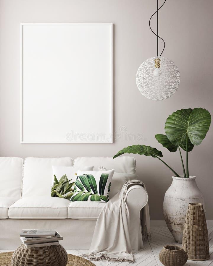 Mock up poster frame in tropical bedroom interior background, modern Caribbean style vector illustration