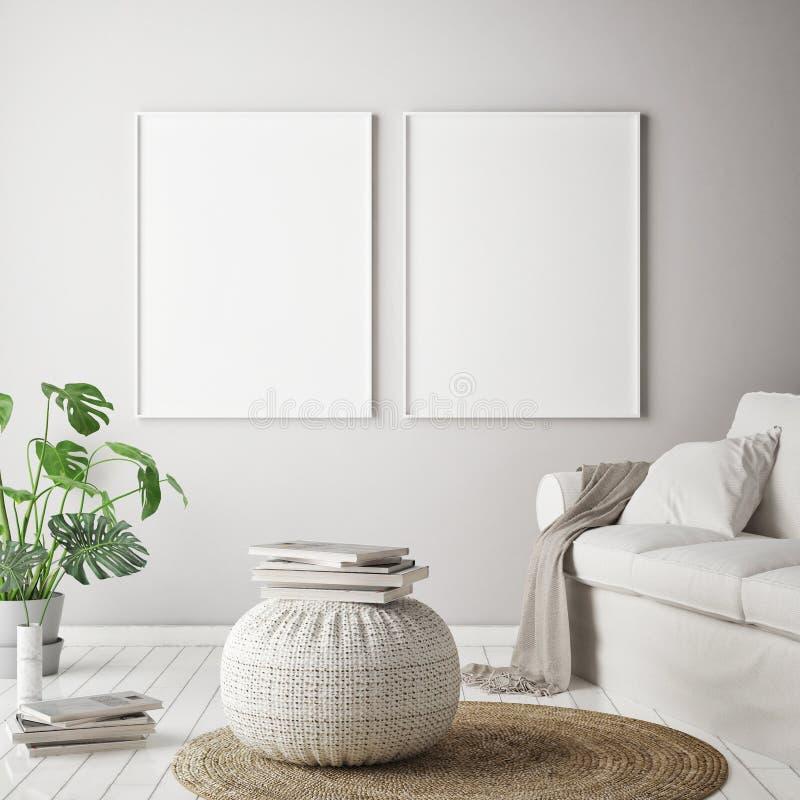 Mock up poster frame in tropical interior background, modern Caribbean style vector illustration