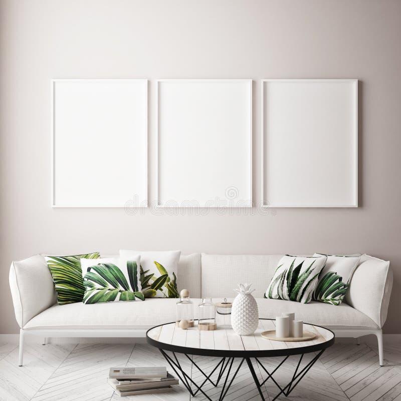 Mock up poster frame in tropical interior background, modern Caribbean style. 3D illustration