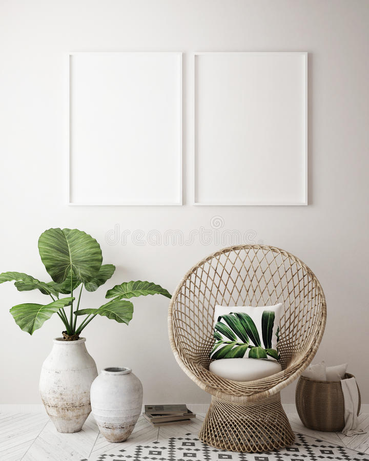 Mock up poster frame in tropical interior background, modern Caribbean style royalty free illustration