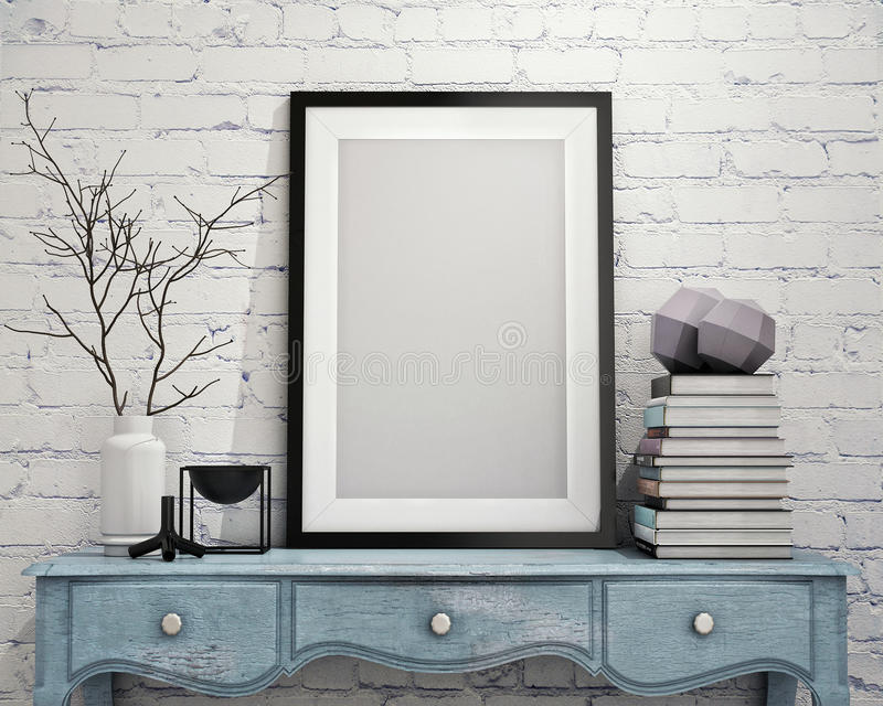 Mock up poster frame on vintage chest of drawers, interior royalty free illustration