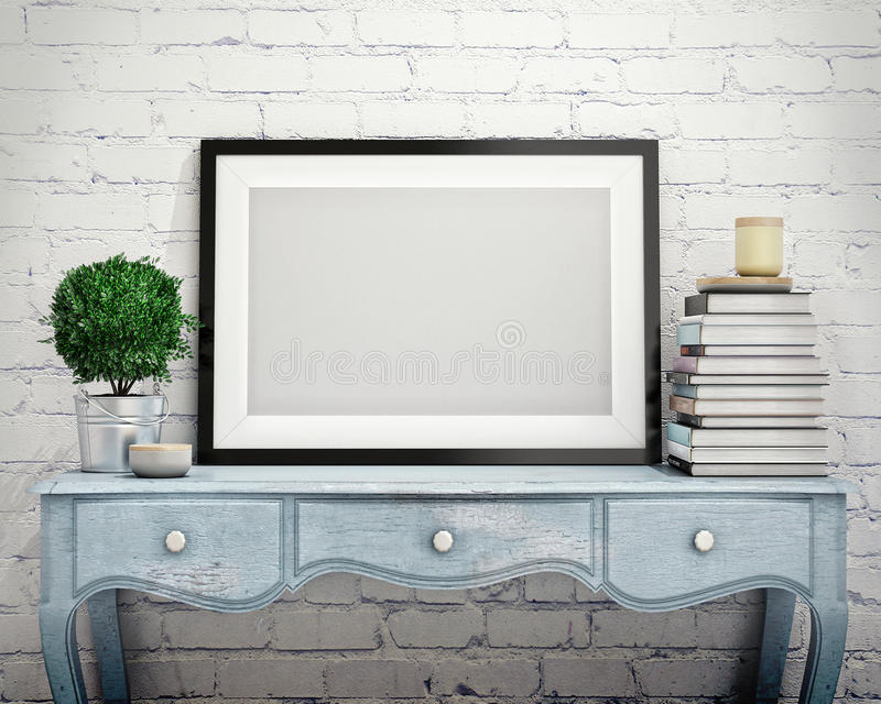 Mock up poster frame on vintage chest of drawers, interior vector illustration