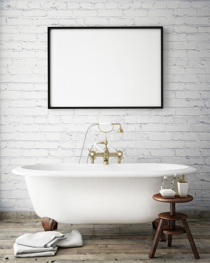 Mock up poster frame in vintage hipster bathroom, interior background, royalty free stock photography