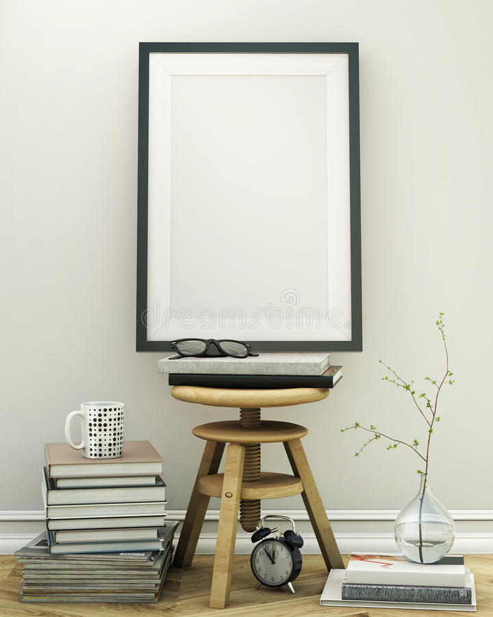 Mock up poster frame with vintage loft interior background royalty free illustration